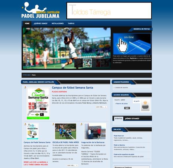 Páginas web para clubs de pádel