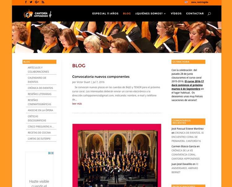 Páginas web para Coros y Equipos deportivos